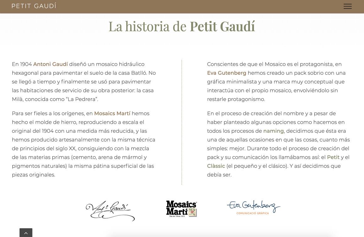 Ejemplo Historia Petit Gaudí. Asesoría y asistencia digital Wordpress SEO UX Barcelona