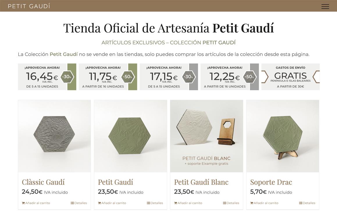 Ejemplo Tienda online Petit Gaudí. Asesoría y asistencia digital Wordpress Eshop Ecommerce Barcelona
