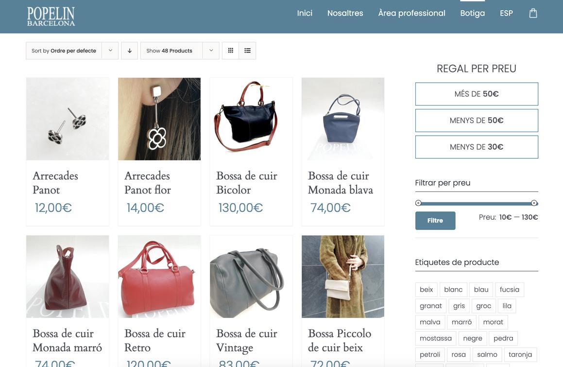 Ejemplo Popelin Barcelona. Asesoría y asistencia digital Wordpress Eshop Ecommerce Barcelona