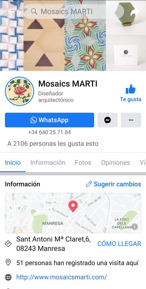 Ejemplo Facebook Mosaics Martí Gestión y optimización diseño gráfico Barcelona pillaunticket